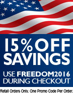 15% OFF EVERYTHING! : Friday. Saturday. Sunday. Monday | Use FREEDOM2016 during checkout >> Retail Orders Only. One Promo Code Per Order. Cannot Be Combined with any other offer or promotion.