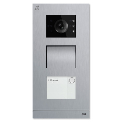 ABB-Welcome IP Video Outdoor Station with Induction Loop, Stainless Steel, 1 Button