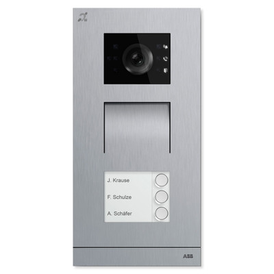 ABB-Welcome IP Video Outdoor Station with Induction Loop, Stainless Steel, 3 Button