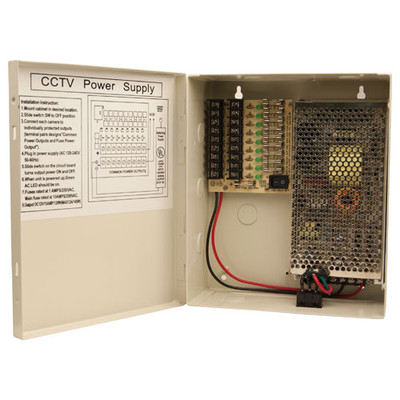 Channel Vision CCTV 120-240VAC Power Supply, 9 Outputs
