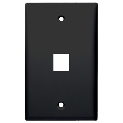 DataComm Keystone Wallplate, 1-Gang, 1-Port, Black