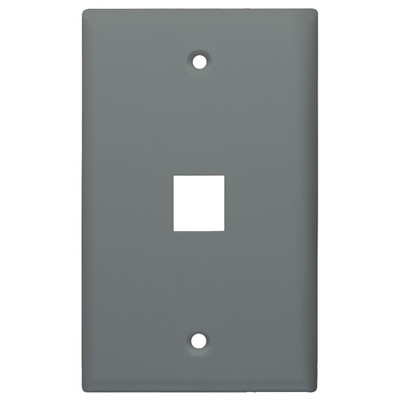DataComm Keystone Wallplate, 1-Gang, 1-Port, Gray