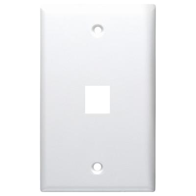 DataComm Keystone Wallplate, 1-Gang, 1-Port, White