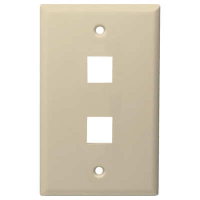 DataComm Keystone Wallplate, 1-Gang, 2-Port, Almond
