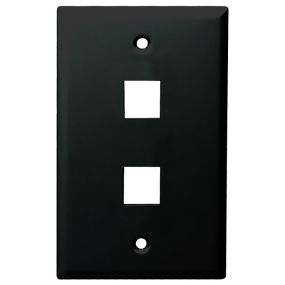 DataComm Keystone Wallplate, 1-Gang, 2-Port, Black
