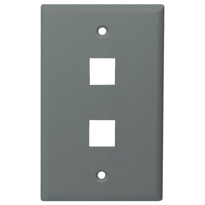 DataComm Keystone Wallplate, 1-Gang, 2-Port, Gray