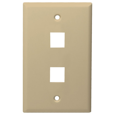 DataComm Keystone Wallplate, 1-Gang, 2-Port, Ivory