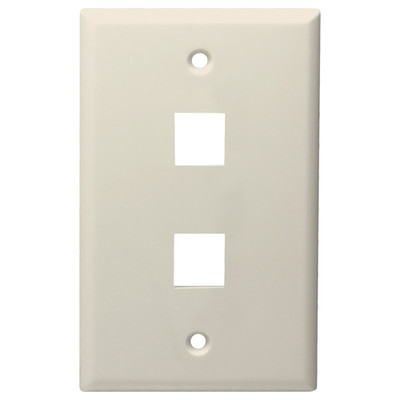 DataComm Keystone Wallplate, 1-Gang, 2-Port, Light Almond