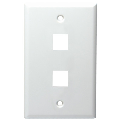 DataComm Keystone Wallplate, 1-Gang, 2-Port, White