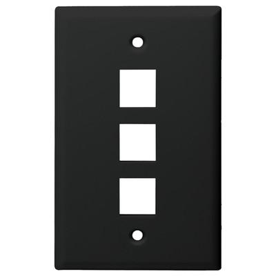 DataComm Keystone Wallplate, 1-Gang, 3-Port, Black