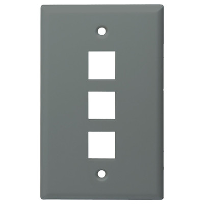 DataComm Keystone Wallplate, 1-Gang, 3-Port, Gray