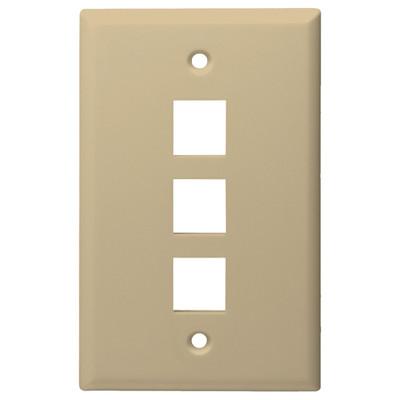 DataComm Keystone Wallplate, 1-Gang, 3-Port, Ivory
