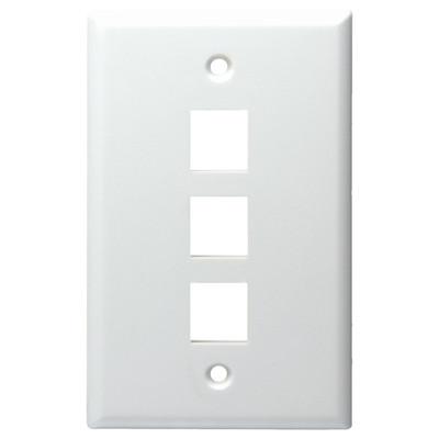 DataComm Keystone Wallplate, 1-Gang, 3-Port, White