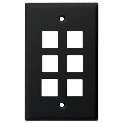 DataComm Keystone Wallplate, 1-Gang, 6-Port, Black