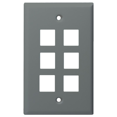 DataComm Keystone Wallplate, 1-Gang, 6-Port, Gray