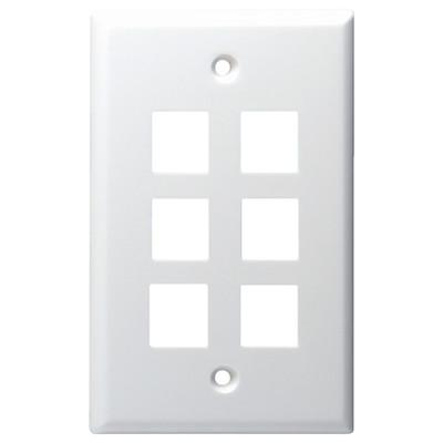 DataComm Keystone Wallplate, 1-Gang, 6-Port, White