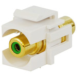 DataComm RCA Keystone Snap-In Connector, Green Insert, White