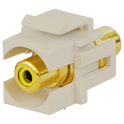 DataComm RCA Keystone Snap-In Connector, Yellow Insert, Light Almond