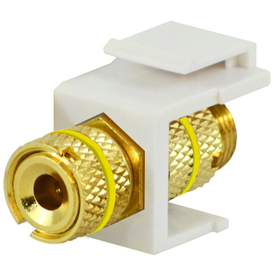 DataComm Binding Post Keystone Snap-In Connector, Yellow Stripe, White
