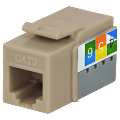 DataComm Cat3 Keystone Snap-In Connector, Ivory