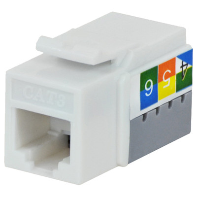 DataComm Cat3 Keystone Snap-In Connector, White