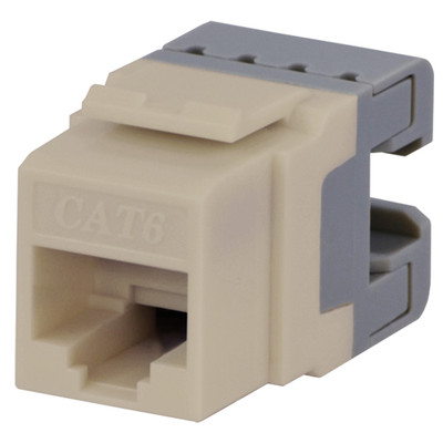 DataComm Cat6 Keystone Snap-In Connector, Almond