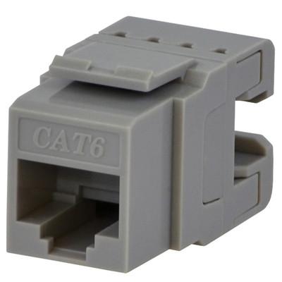 DataComm Cat6 Keystone Snap-In Connector, Gray
