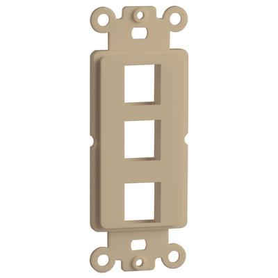 DataComm Keystone Decorator Strap, 3-Port, Ivory