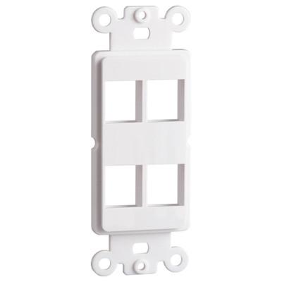 DataComm Keystone Decorator Strap, 4-Port, White