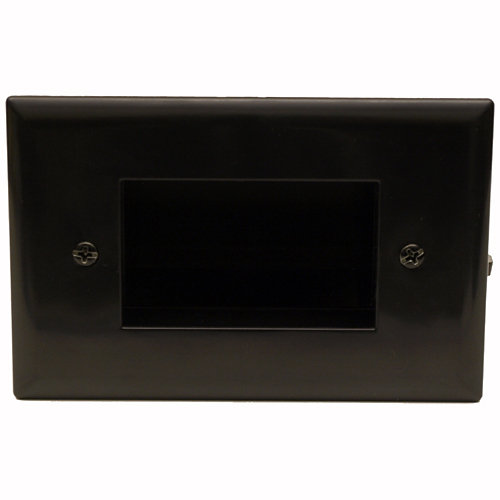 DataComm Easy Mount Recessed Cable Access Wallplate, Black