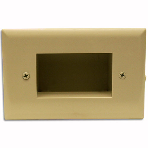 DataComm Easy Mount Recessed Cable Access Wallplate, Ivory
