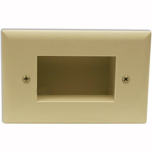 DataComm Slim Fit Easy Mount Recessed Cable Access Wallplate, Light Almond