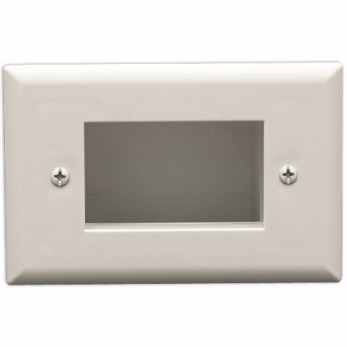 DataComm Slim Fit Easy Mount Recessed Cable Access Wallplate, White