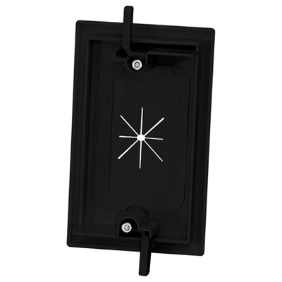 DataComm Cable Access Wallplate with Flexible Opening, 1-Gang, Black