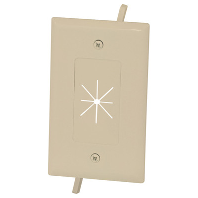 DataComm Cable Access Wallplate with Flexible Opening, 1-Gang, Ivory