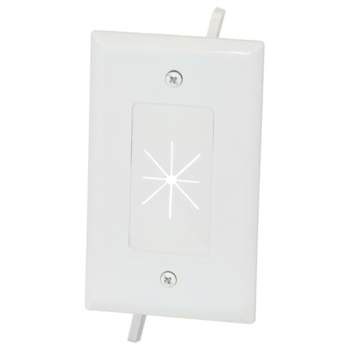 datacomm cable access wallplate with flexible opening 1gang white