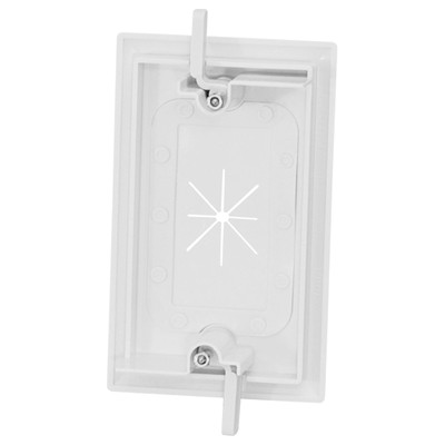 DataComm Cable Access Wallplate with Flexible Opening, 1-Gang, White