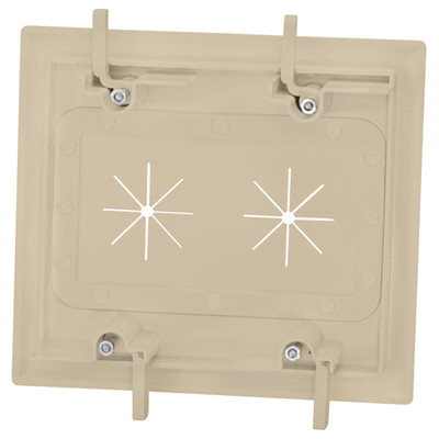 DataComm Cable Access Wallplate with Flexible Opening, 2-Gang, Ivory