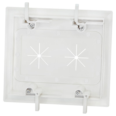 DataComm Cable Access Wallplate with Flexible Opening, 2-Gang, White