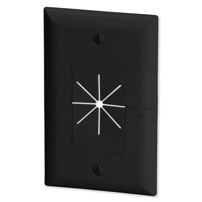 Datacomm Split Plate with Flexible Opening, Black