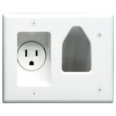 DataComm Recessed Cable Access Wallplate with Receptacle, White