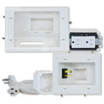 DataComm Recessed Pro-Power Kit with Straight-Blade Receptacle