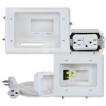 DataComm Recessed Pro-Power Kit with Straight-Blade Surge Receptacle