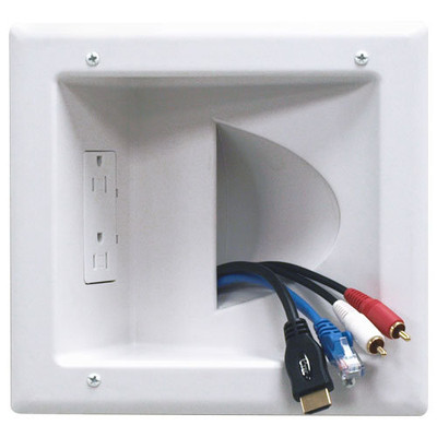 DataComm Recessed Low-Voltage Media Plate with Duplex Receptacle