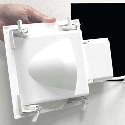 DataComm Recessed Low-Voltage Media Plate with Duplex Surge Receptacle