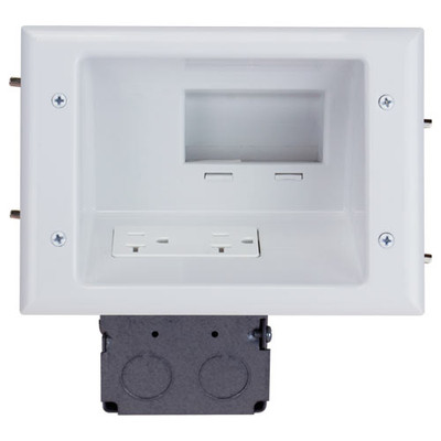 DataComm Recessed Low-Voltage Mid-Size Plate with 20A Duplex Receptacle