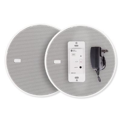 """EISSOUND In-Wall Bluetooth Audio Receiver, Power Supply, Two 5"""" Speakers, White"""