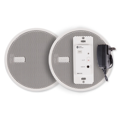 """EISSOUND In-Wall Bluetooth Audio Receiver, Power Supply, Two 2.5"""" Speakers, White"""