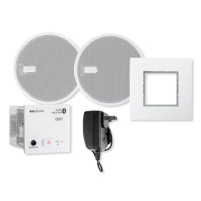 EISSOUND In-Wall Bluetooth Audio Receiver with Two 2.5 In. Speakers and Power Supply, White (E.U.)