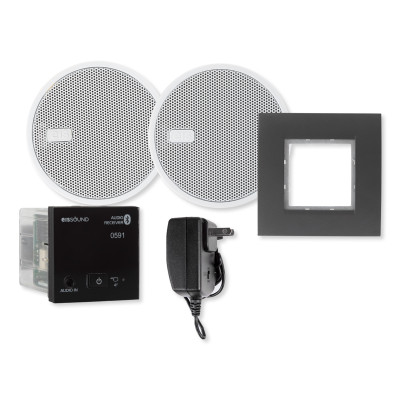 EISSOUND In-Wall Bluetooth Audio Receiver with Two 2.5 In. Speakers and Power Supply, Black (E.U.)